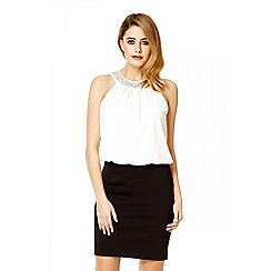 Quiz - Cream diamante neck trim bubble dress