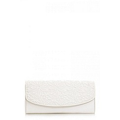 Quiz - Cream lace clutch bag
