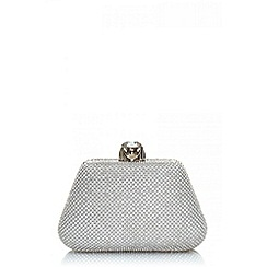 Quiz - Silver diamante jewel clip clutch bag