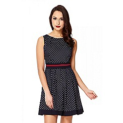 Quiz - Navy Polka Dot Cotton Dress