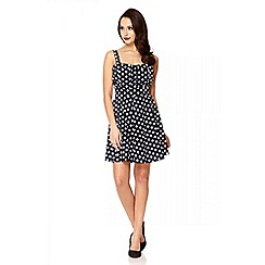 Quiz - Navy Polka Dot Strap Skater Dress