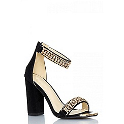 Quiz - Black chain strap block heel shoes