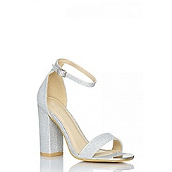 Quiz - Silver shimmer block heel shoes