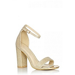 Quiz - Gold shimmer block heel shoes
