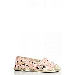 Quiz - Pink raffia lace flower pumps