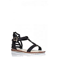 Quiz - Black snake t-bar flat sandals