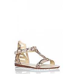 Quiz - White snake t-bar flat sandals