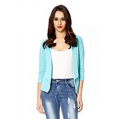Quiz - Aqua open front blazer