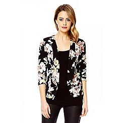 Quiz - Black crepe flower print blazer