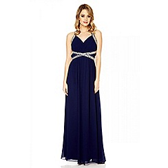 Quiz - Navy crossover embellishment maxi dress
