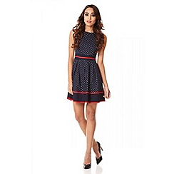 Quiz - Navy cotton polka dot trim skater dress