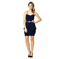 Quiz - Navy fold front bandeau belt dress