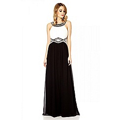 Quiz - Cream and black chiffon embellished maxi dress