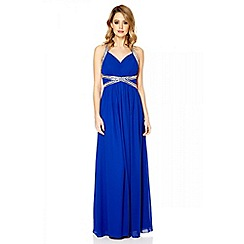 Quiz - Royal blue crossover embellishment maxi dress
