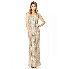 Quiz - Champagne sequin zig zag split maxi dress