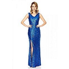 Quiz - Royal blue sequin zig zag split maxi dress