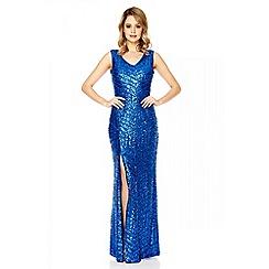 Quiz - Royal blue sequin zig zag split maxi dress