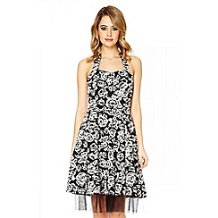 Quiz - Black rose print halter neck prom dress