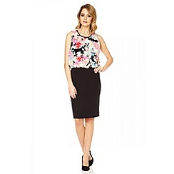Quiz - Black and neon pink floral print bubble dress