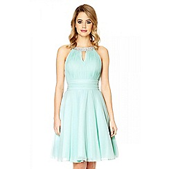 Quiz - Mint diamante neck prom dress
