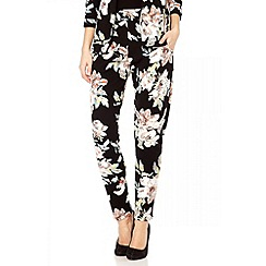 Quiz - Black crepe flower print trousers