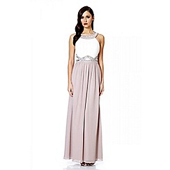 Quiz - Cream and mocha chiffon embellished maxi dress