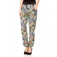 Quiz - Navy paisley print harem trousers