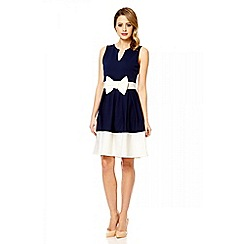 Quiz - Navy bow panel skater dress