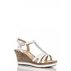 Quiz - White diamante t-bar wedges