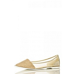 Quiz - Gold Diamante Rim Mesh Pumps