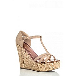 Quiz - Beige lace cork wedges