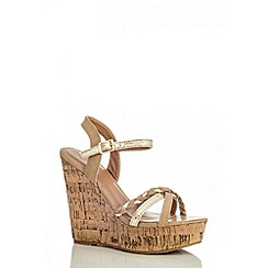 Quiz - Brown rope strap cork wedges