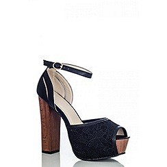 Quiz - Black lace block wood heel shoes