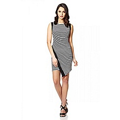 Quiz - Black and White Waffle Stripe Dress