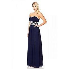 Quiz - Navy Bandeau Embellished Maxi Dress