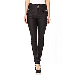 Quiz - Black leather effect trousers