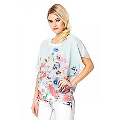 Quiz - Mint Chiffon Floral Print Top