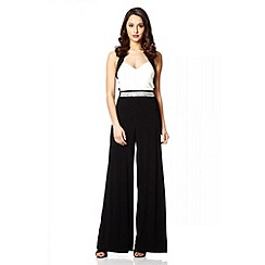 Quiz - Cream And Black Palazzo Jumpsuit