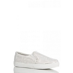 Quiz - Silver Croc Print Shimmer Skate Trainers