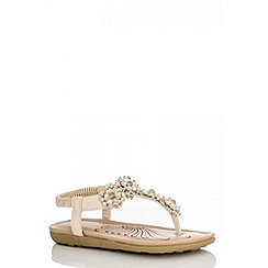 Quiz - Beige 5 Flower Flat Sandals