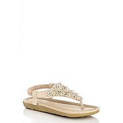 Quiz - Beige Diamante Flower Flat Sandals