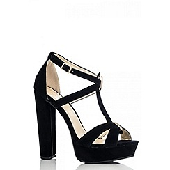 Quiz - Black Multi Strap Block Heel Platform Shoes