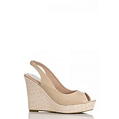 Quiz - Nude Textured Heel Wedges
