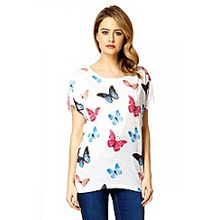 Quiz - White Embellished Butterfly Print Top