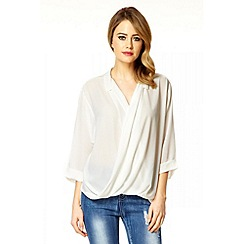 Quiz - White Chiffon Crossover Front Blouse