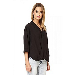 Quiz - Black chiffon crossover front blouse