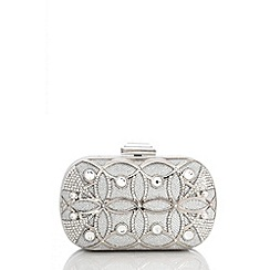 Quiz - Silver Circular Shimmer Box Clutch Bag