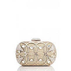 Quiz - Gold Circular Shimmer Box Clutch Bag