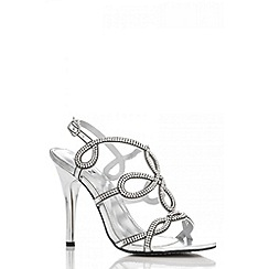 Quiz - Silver Diamante Loop High Heel Sandals