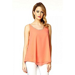 Quiz - Coral Chiffon Double Layer Embellished Top